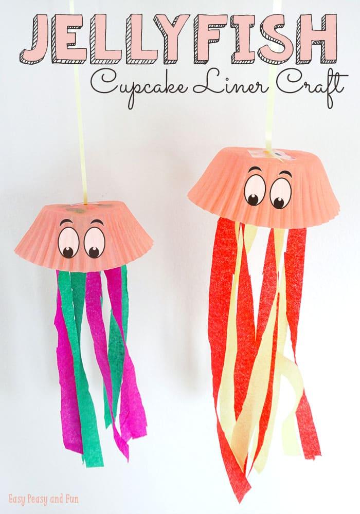 Jellyfish Cupcake Liner Crafts on Paper Plate Umbrella Craft