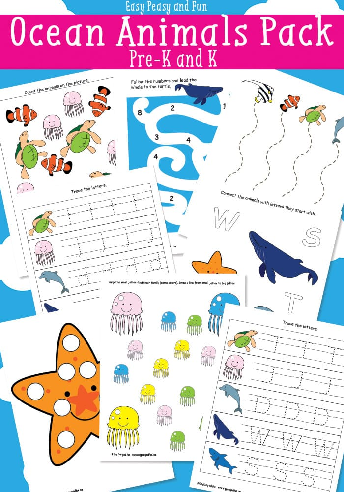 Ocean Animals Printables For Kids Easy Peasy and Fun – Animals Worksheets for Kindergarten