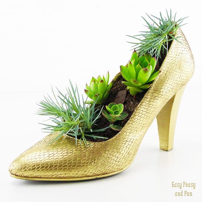 shoe flower pot - shoe crafts