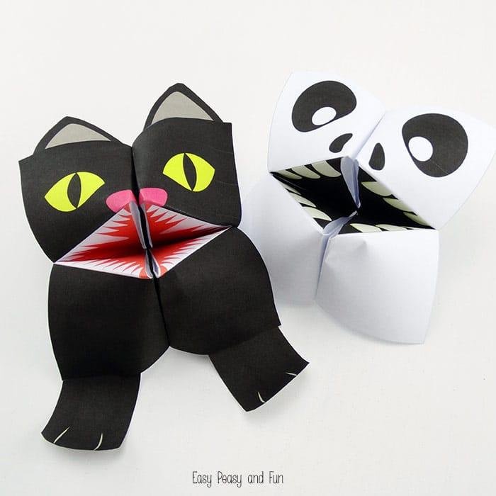Black Cat & Skeleton Halloween Cootie Catchers