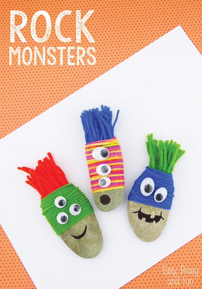 Wool Wrapped Rock Monsters - Rock Crafts