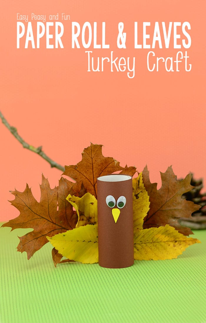 Toilet Paper Roll Turkey Craft with Leaves