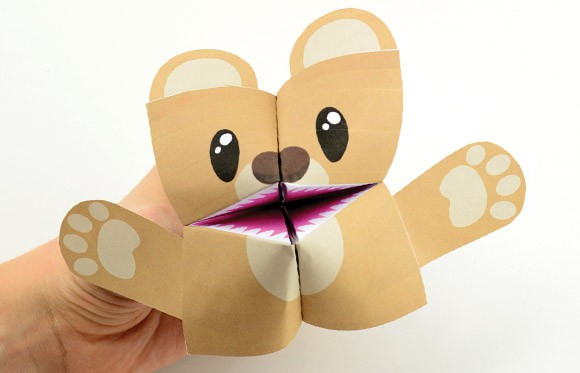 teddy bear cootie catcher origami for kids easy peasy