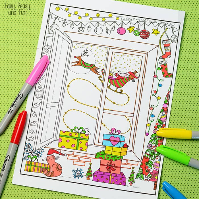 detailed christmas coloring page for adults and kids - Detailed Christmas Coloring Pages