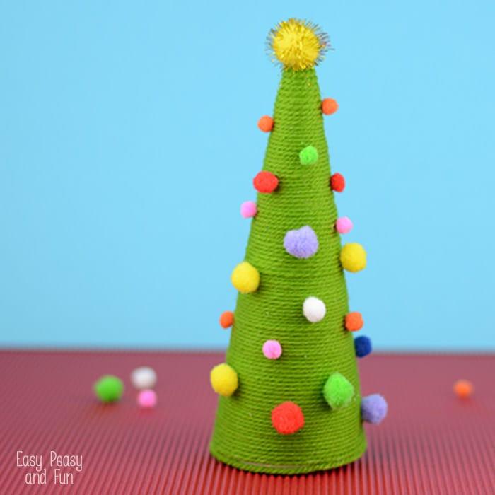Pom Pom Cone Christmas Tree Craft for Kids