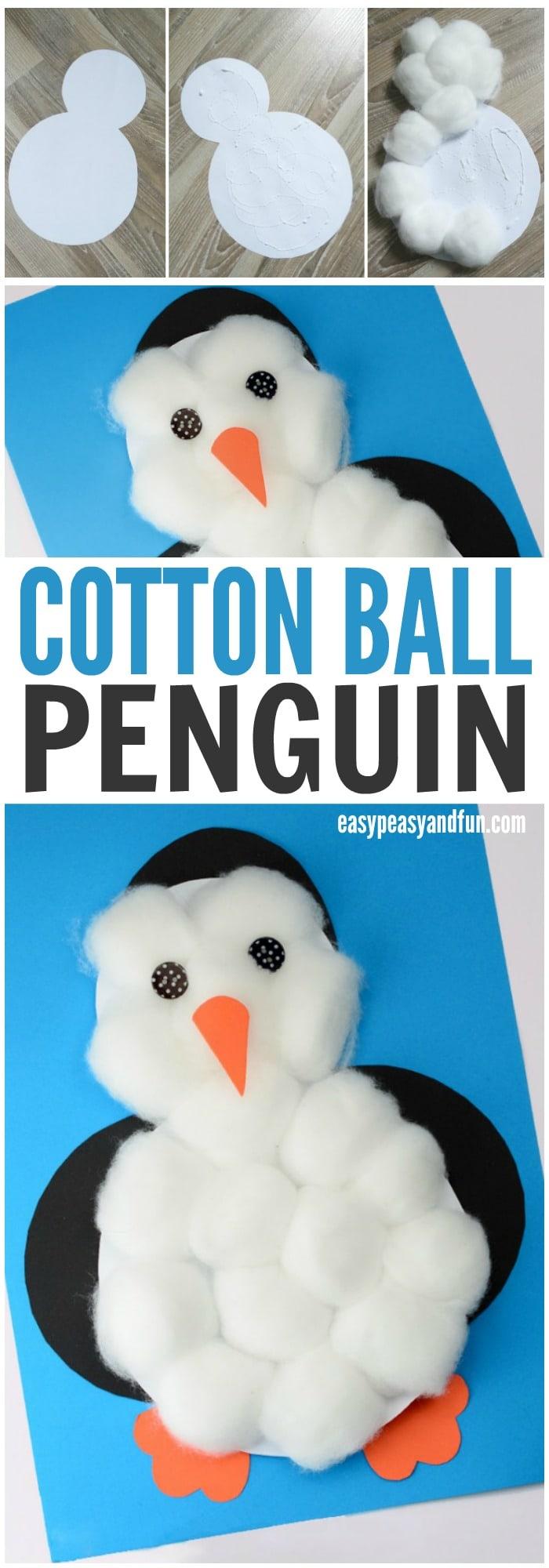 Adorable Cotton Balls Penguin Craft for Kids to Make