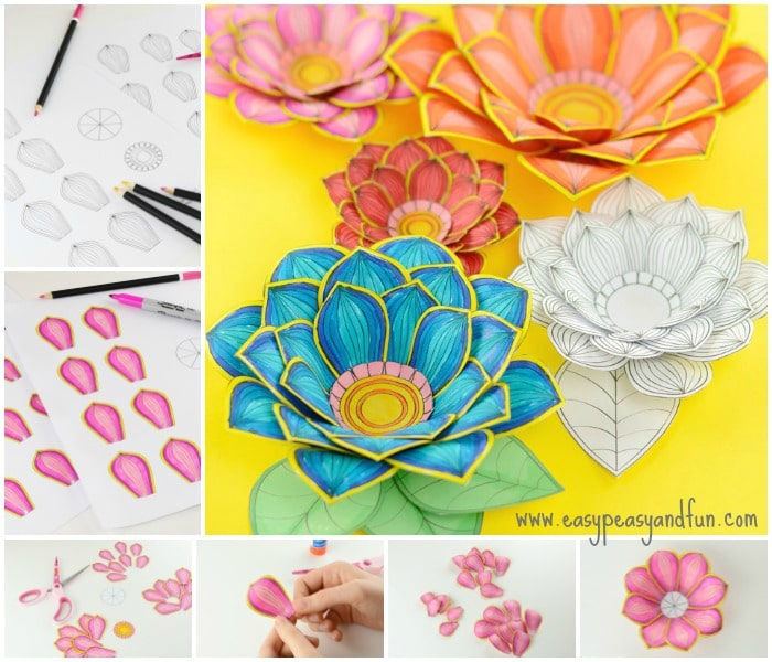 Paper Craft Flowers 3D Coloring Pages Easy Peasy and Fun