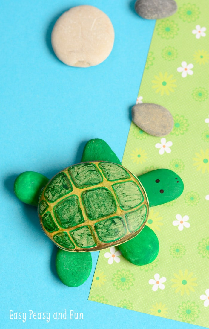 Rock Turtle Craft Simple Rock Painting for Kids
