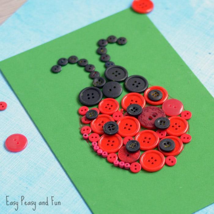 Adorable Ladybug Button Craft for Kids