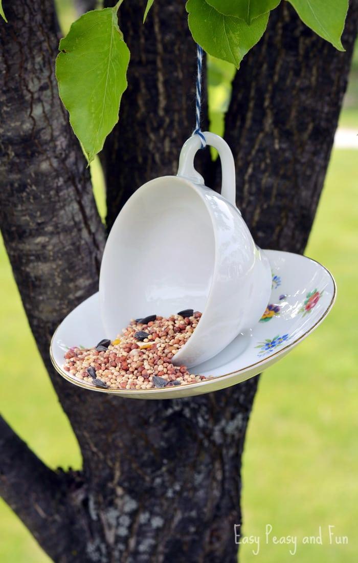 DIY teacup bird feeder craft