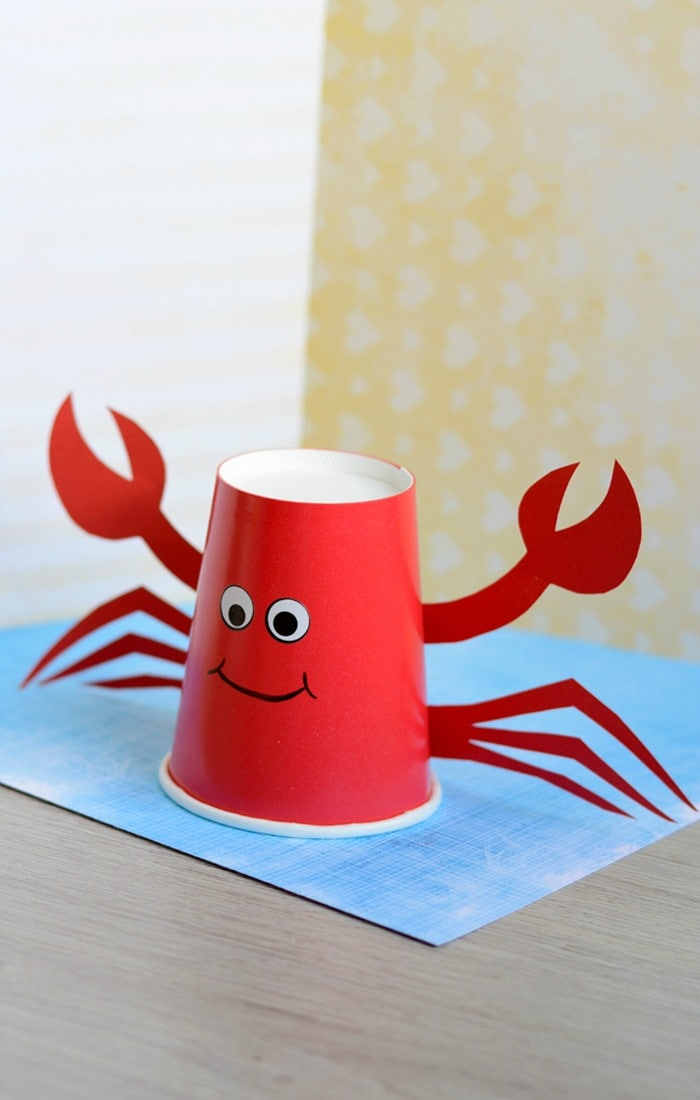 Paper cup crab craft for kids easy peasy and fun for Craft made by paper