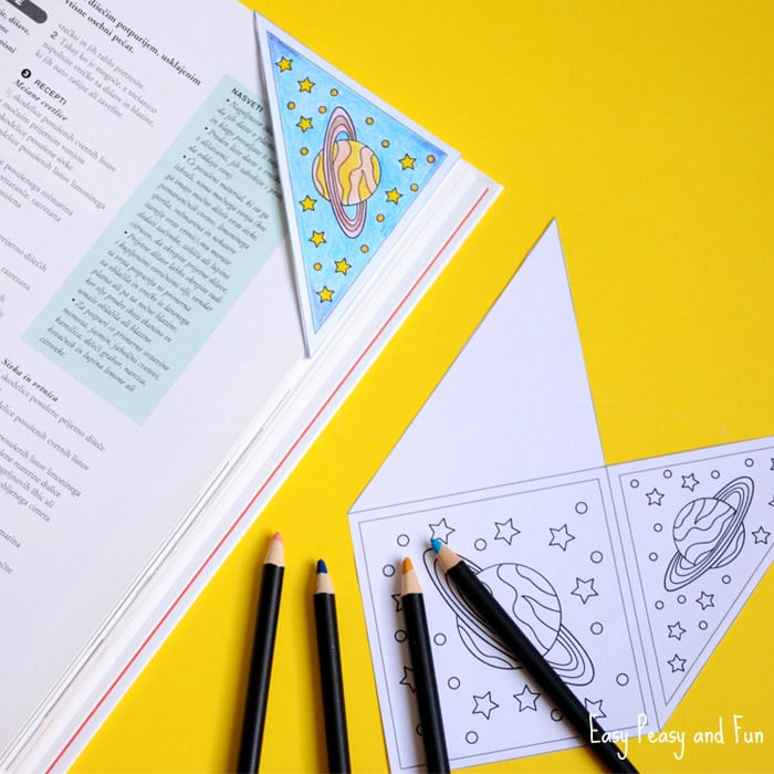 Space Corner Bookmark to Color Easy Peasy and Fun