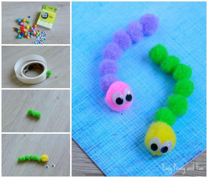 Awesome Pom Pom Caterpillar Craft for Kids
