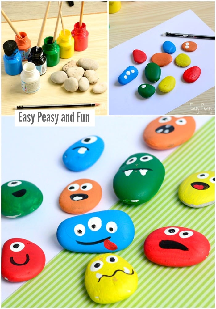 Cute Monster Rock Painting Craft for Kids