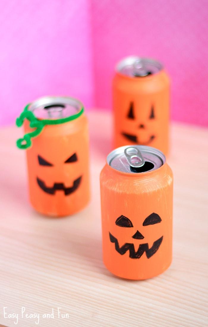 Tin Can Pumpkin Craft Halloween Crafts For Kids Easy