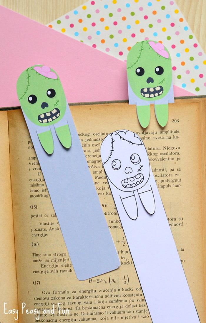 Printable Zombie Bookmarks Halloween