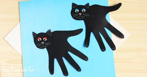 Handprint Black Cat Craft Easy Peasy And Fun