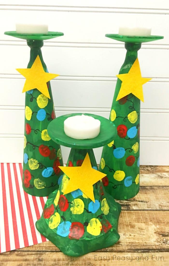Christmas Tree Candle Holders Kids Can Make - Kid Made Christmas Gifts. Don't the fingerprint Christmas lights look adorable?