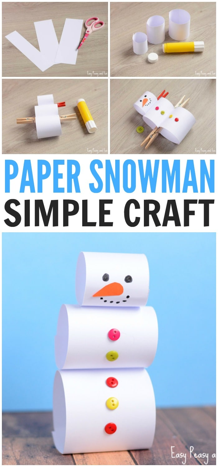 Simple Paper Chick Craft: Simple Paper Snowman Craft