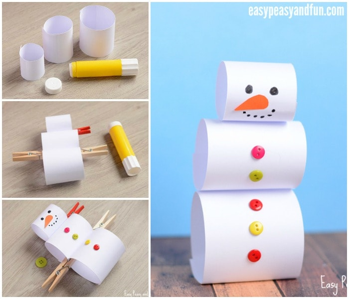 Simple and Cute Paper Snowman Craft