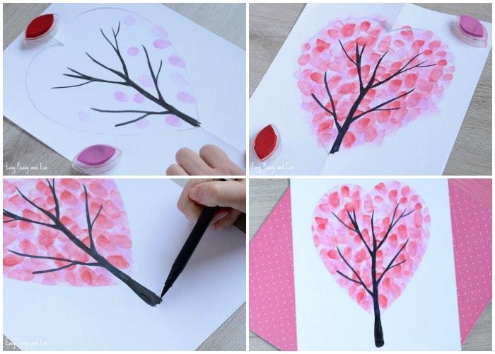 Valentine's Day Heart Fingerprint Tree Craft