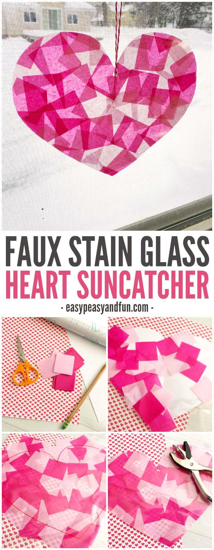 Faux Stain Glass Heart Suncatcher Craft