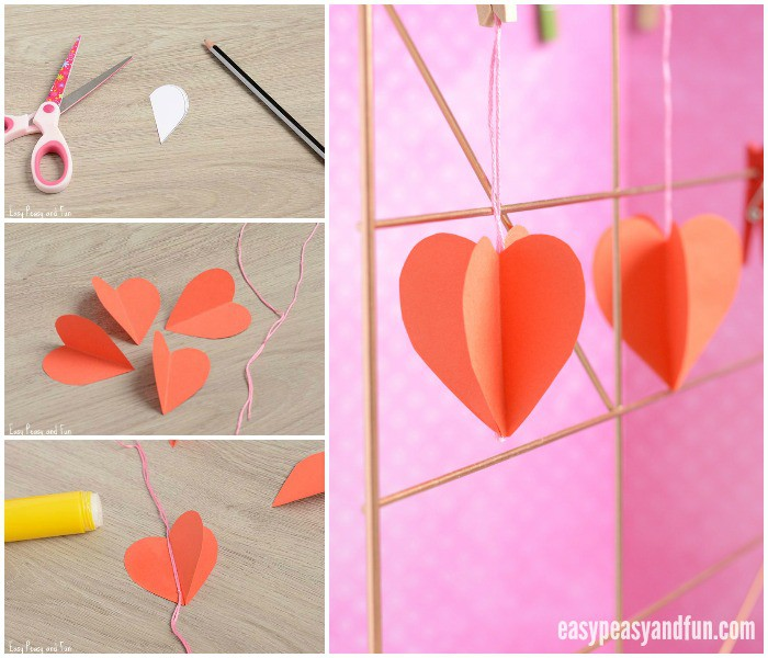 Simple 3D Paper Heart Craft