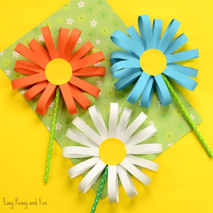 Manualidad de primavera: flores de papel
