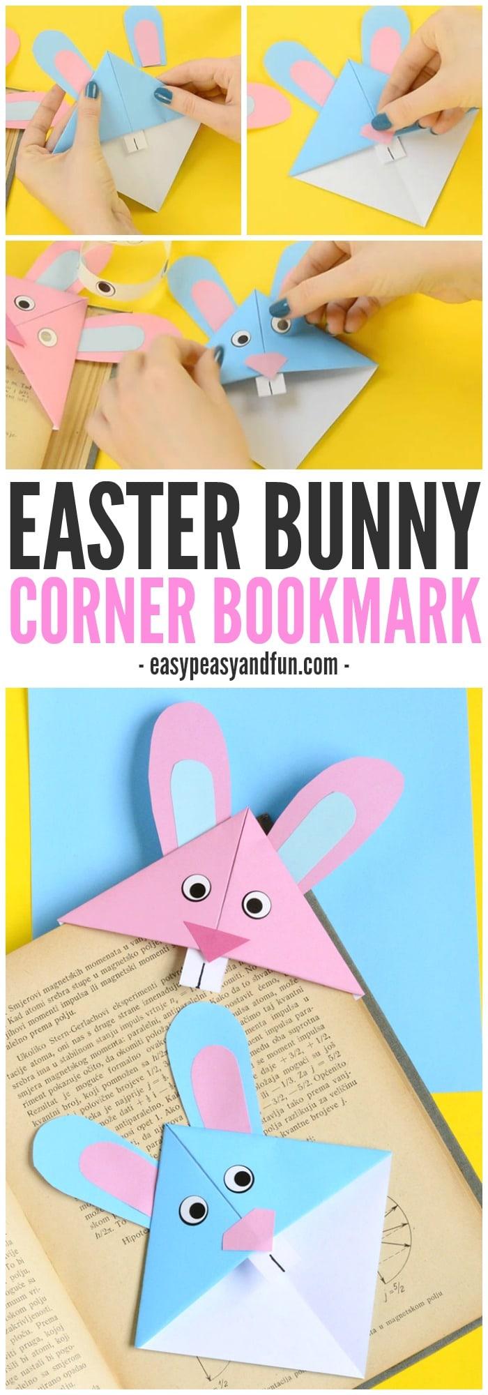 Adorable Easter Bunny Corner Bookmark Craft for Kids