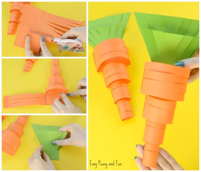 Cute Paper Carrot Craft for Kids to Make