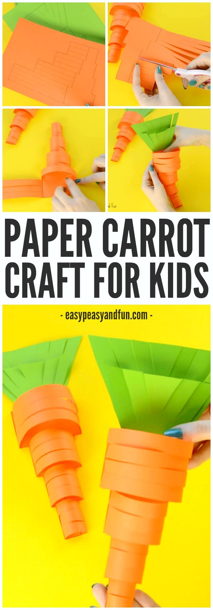 Printable Paper Carrot Craft for Kids to Make