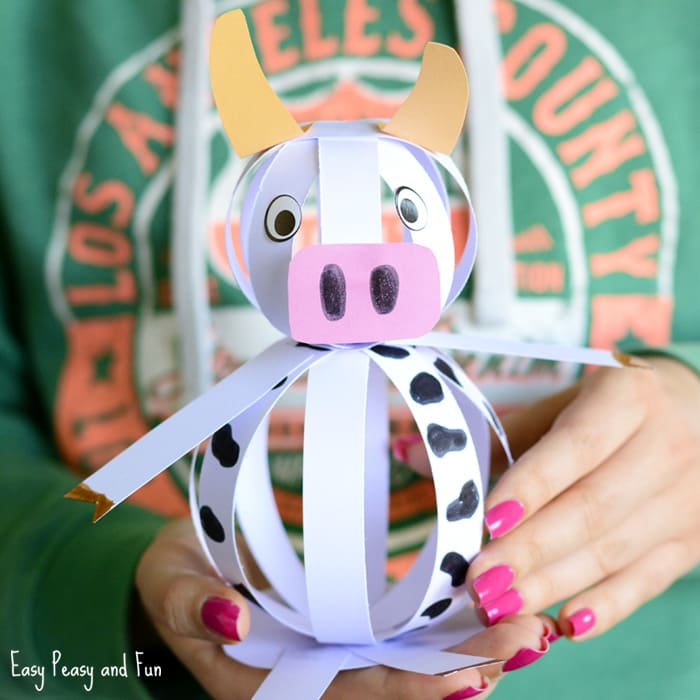Easy Paper Cow Craft Farm Animal Ideas Peasy And Fun