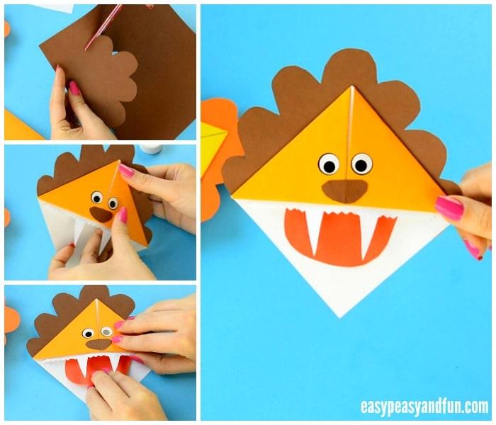 Lion Corner Bookmarks Craft for Kids to Make