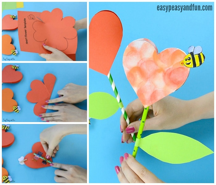 Lovely Paper Heart Flower Craft