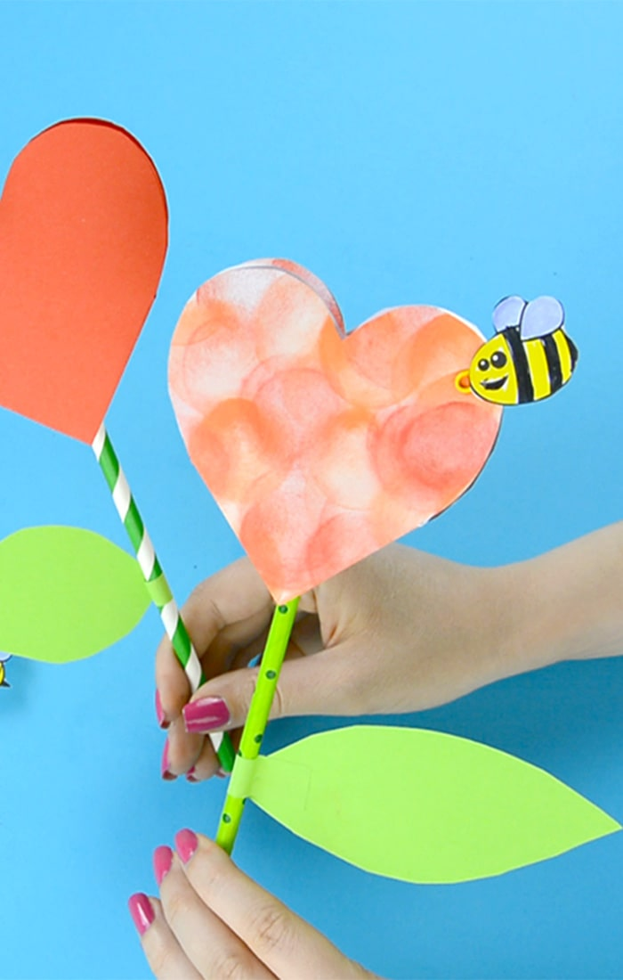 Paper Heart Flower Craft for Kids to Make