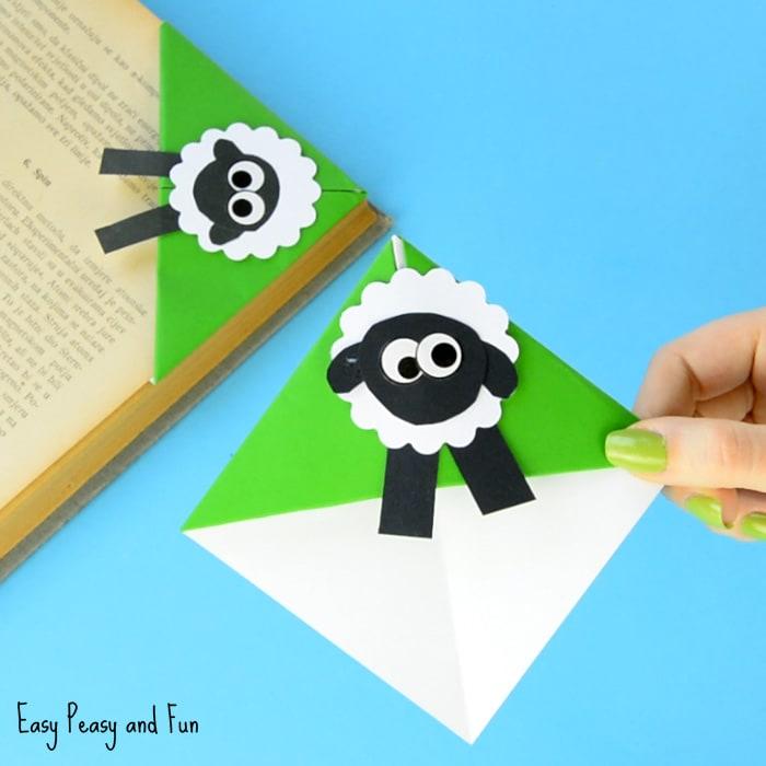 Sheep Corner Bookmark - Origami For Kids - Easy Peasy and Fun
