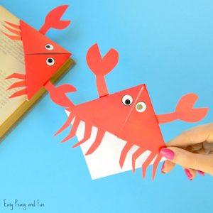 Crab Corner Bookmarks – Ocean Animals Origami for Kids