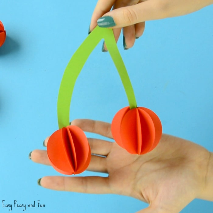 Paper Cherry Craft for Kids