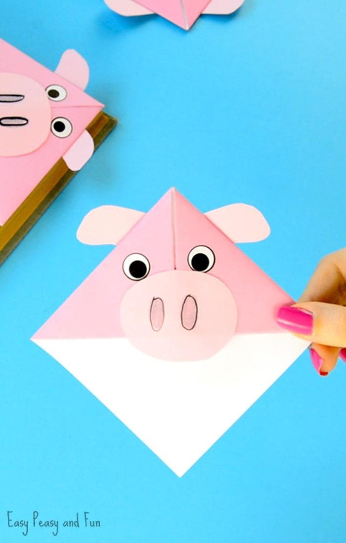 Pig Corner Bookmarks Origami for Kids