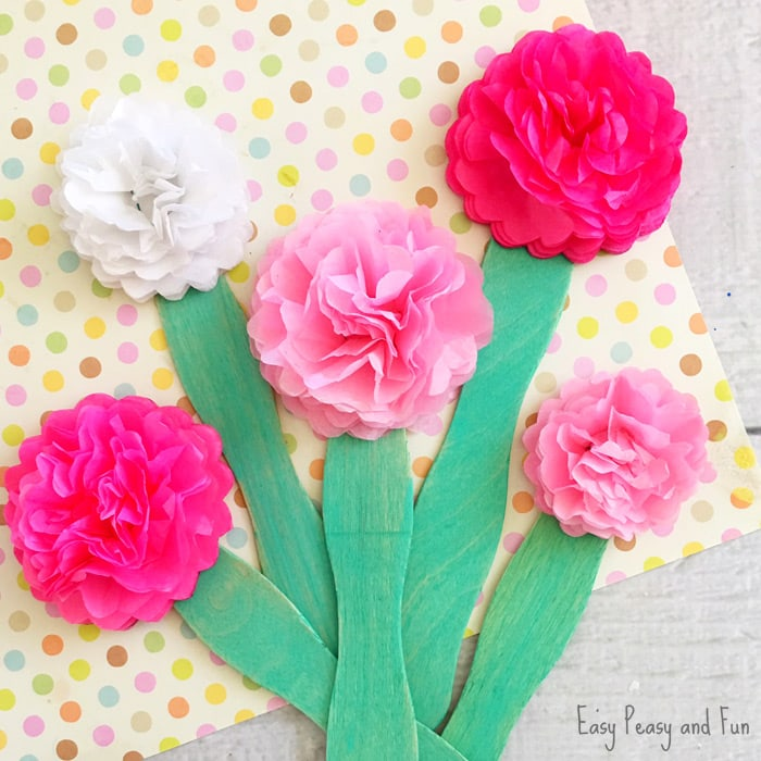 Tissue paper flower craft easy peasy and fun for Preschool flower crafts templates