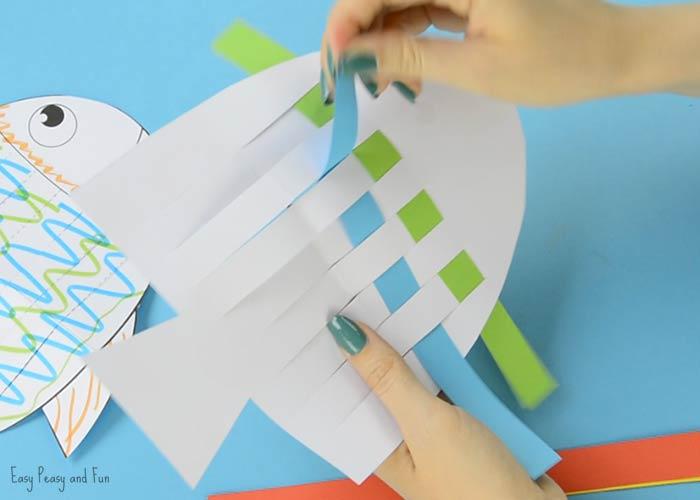 fish paper weaving craft