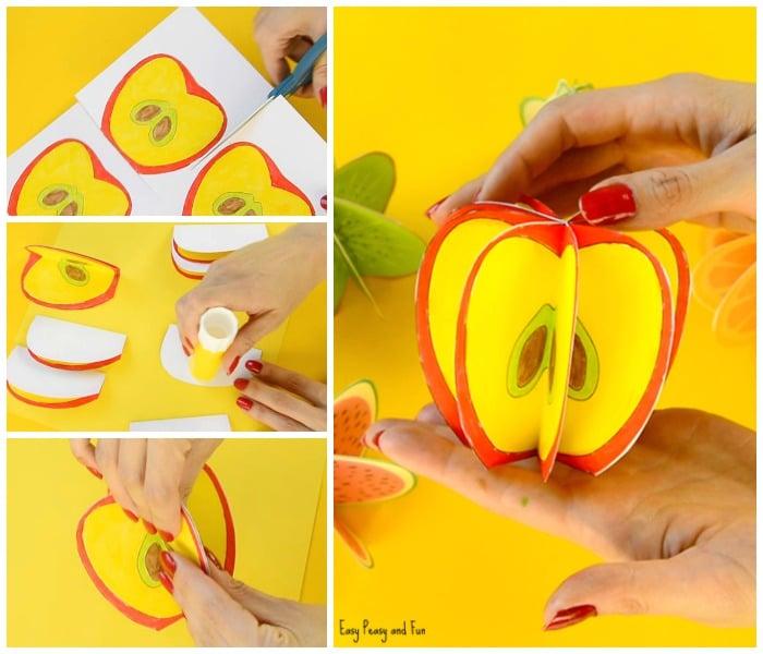 Printable 3D Paper Fruit Craft for Kids