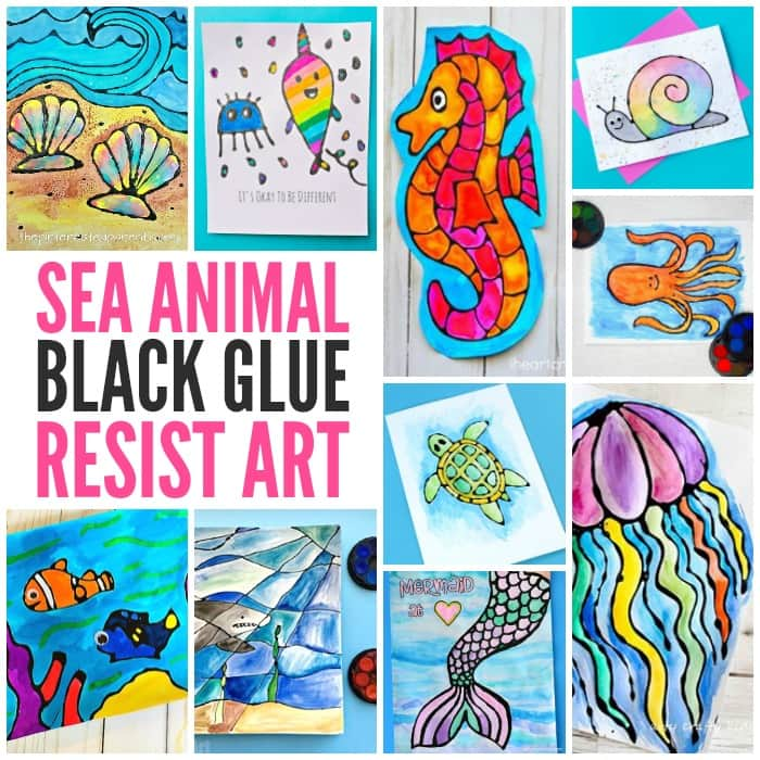 Sea Animal Black Glue Resist Art Fun Ideas for Kids
