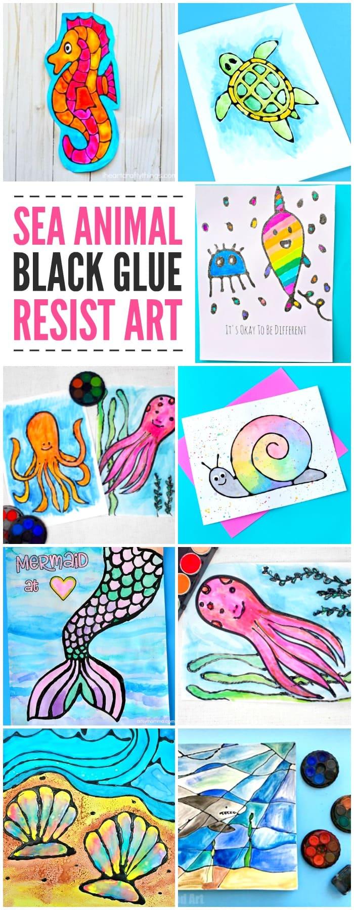 Sea Animal Black Glue Resist Art Ideas for Kids