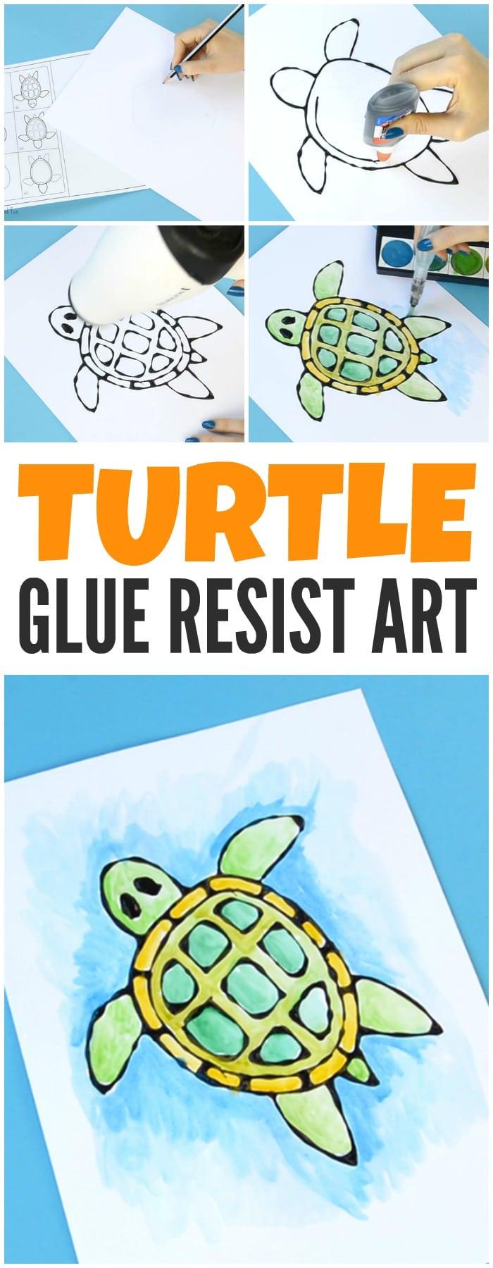 Turtle Black Glue Resist Art Easy Peasy And Fun