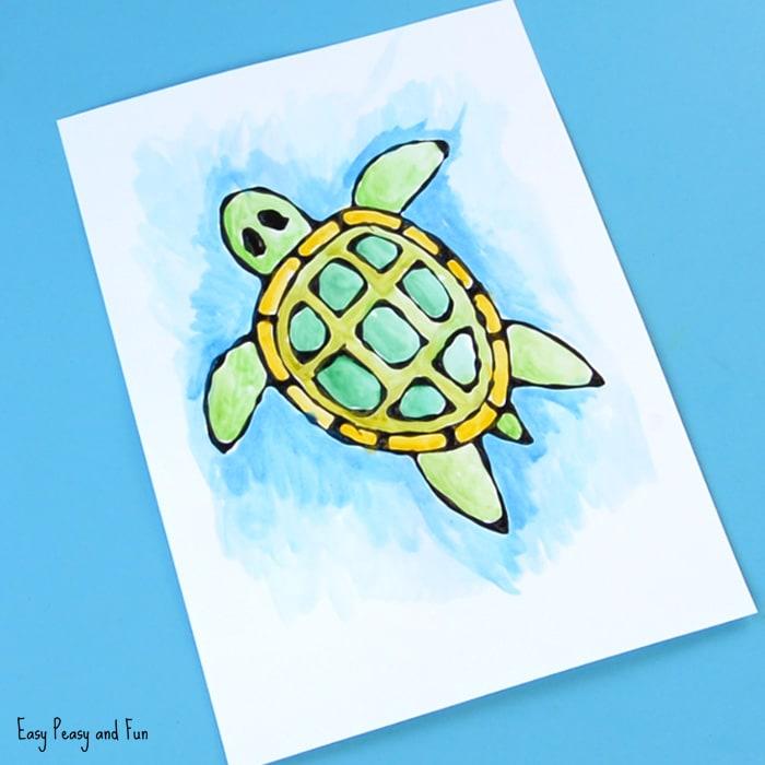 Turtle Black Glue Resist Art for Kids