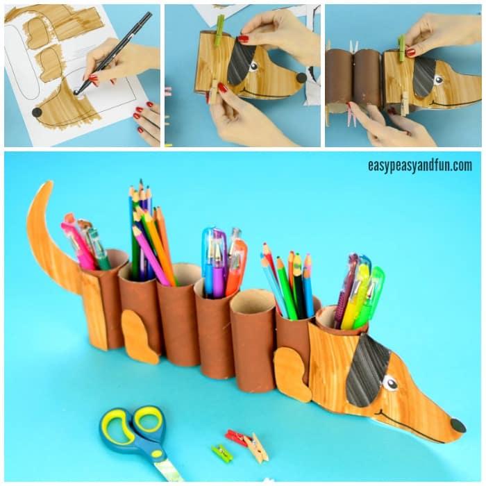 Paper Roll Dog Pencil Holder Craft for Kids to Make