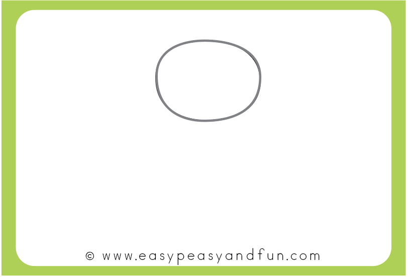 Draw an oval shape for the frog head