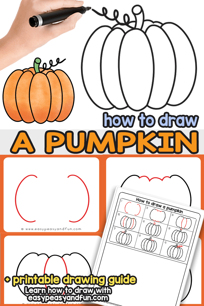 How to Draw a Pumpkin a step by step tutorial that will have you drawing pumpkins in no time.