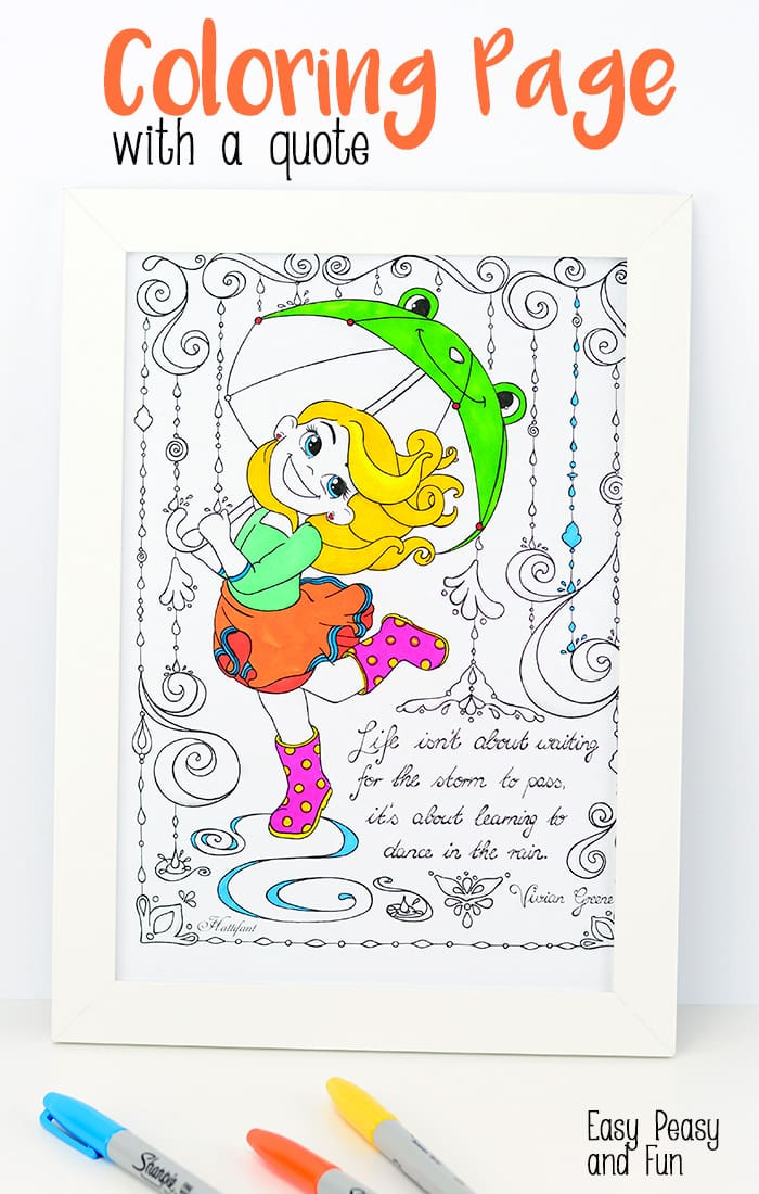 Dancing in the Rain Coloring Page with a Quote